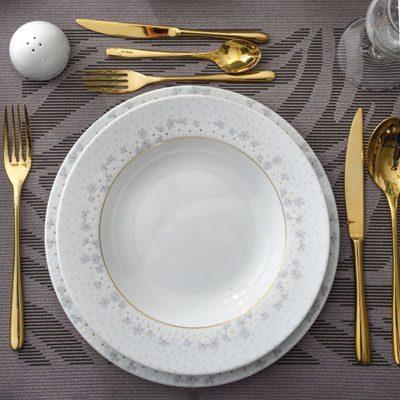 سرویس غذاخوری 28 پارچه چینی زرین ایران سری ایتالیااف طرح برایدال سفید