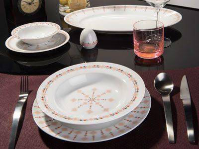 سرویس غذاخوری 28 پارچه چینی زرین ایران سری ایتالیااف طرح کاونتری