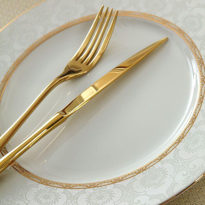 سرویس غذاخوری 28 پارچه چینی زرین ایران سری ایتالیااف طرح هدیه طلایی