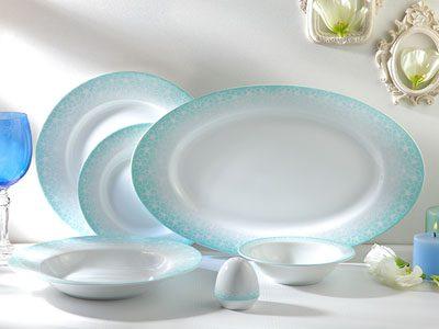 سرویس غذاخوری 28 پارچه چینی زرین ایران سری ایتالیااف طرح ساکورا آبی