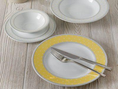 سرویس غذاخوری 28 پارچه چینی زرین ایران سری ایتالیااف طرح سویل زرد