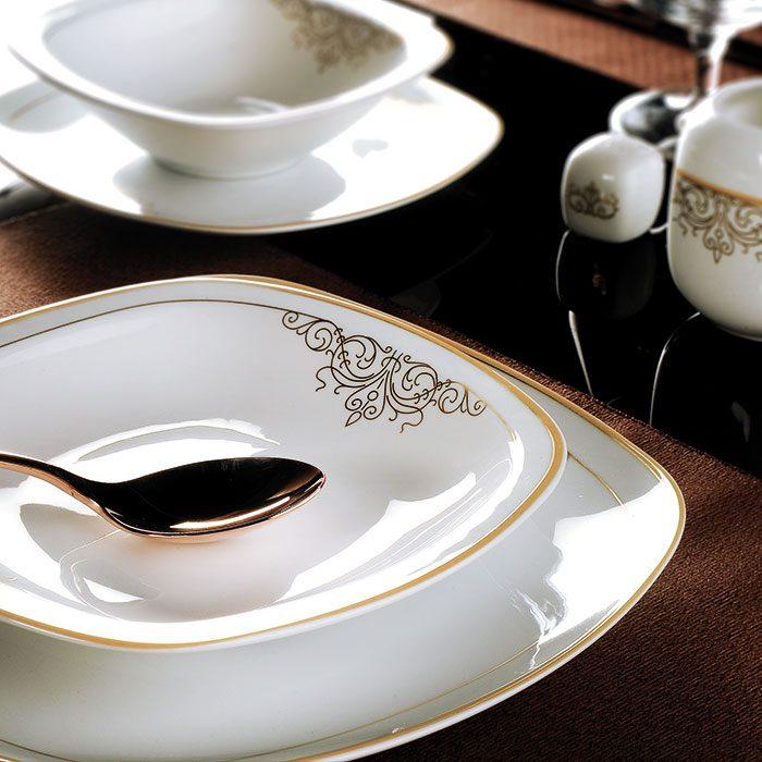 سرویس غذاخوری 27 پارچه چینی زرین ایران سری کواترو طرح موناکو