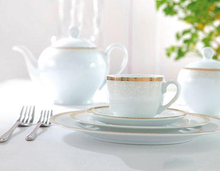 سرویس غذاخوری 102پارچه چینی زرین ایران سری ایتالیااف طرح ریوا طلایی