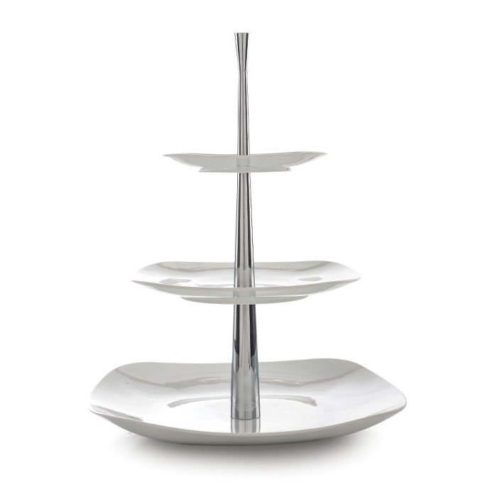 ظرف پذیرایی سه طبقه سفید با پایه استیل چینی زرین ایران