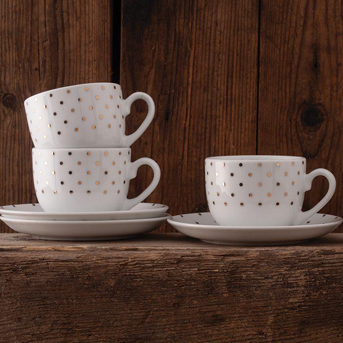 سرویس چینی 12 پارچه چای خوری چینی زرین ایران سری ایتالیااف طرح اسپاتی طلایی