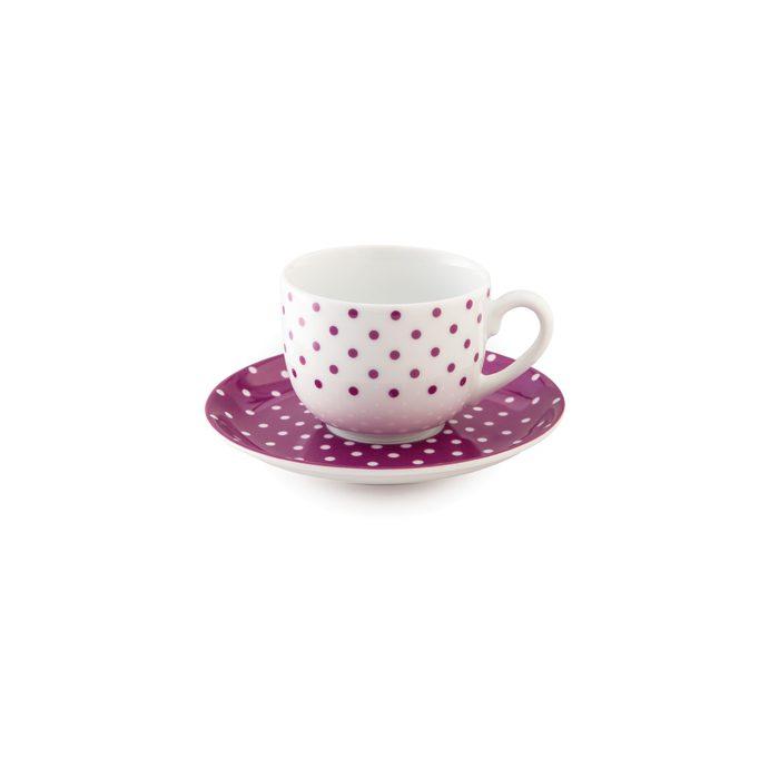 سرویس چینی 12 پارچه چای خوری چینی زرین ایران سری ایتالیااف طرح اسپاتی بنفش