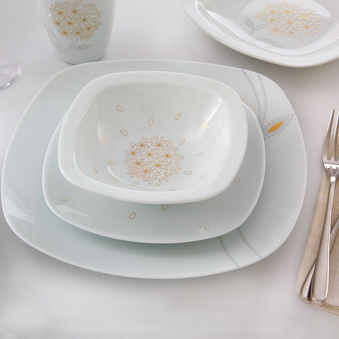 سرویس غذاخوری 27 پارچه چینی زرین ایران سری کواترو طرح گلدن لوتوس