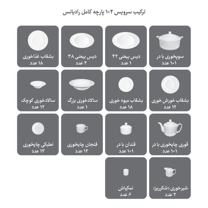 سرویس غذاخوری 102 پارچه چینی زرین ایران سری رادیانس طرح کلودیا