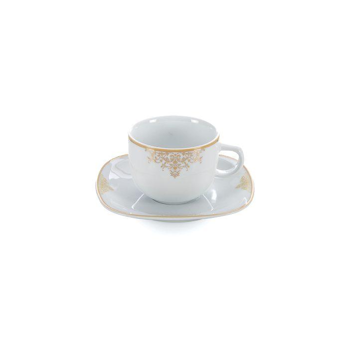 سرویس چینی 12 پارچه چای خوری چینی زرین ایران سری کواترو طرح مونت کارلو طلایی